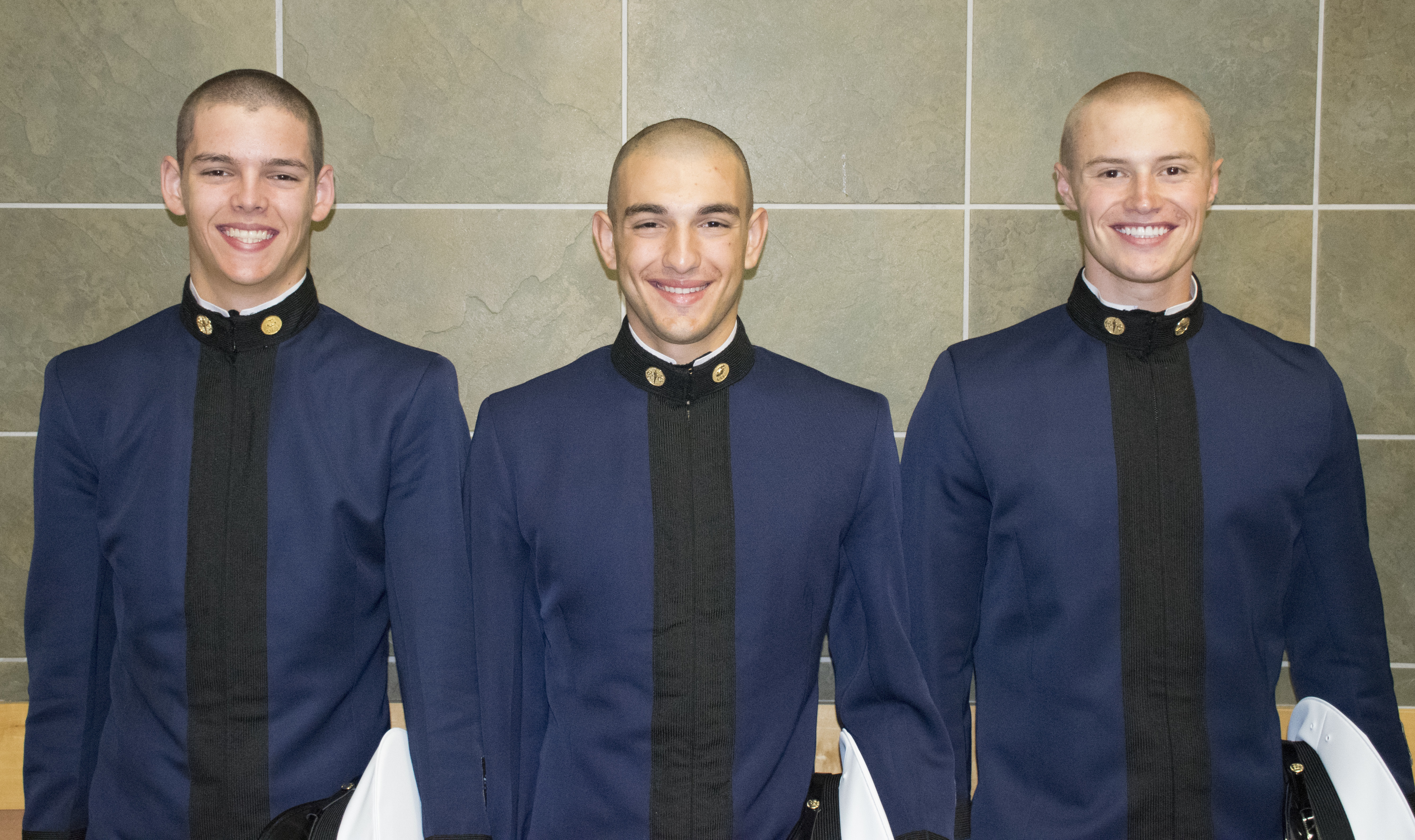 From left to right are Cadets Thomas DiBiaso, Brandon Boccher, and Philip Anderson.
