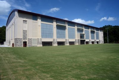 Photograph of the exterior of Virginia Tech's Indoor Practice Facility
