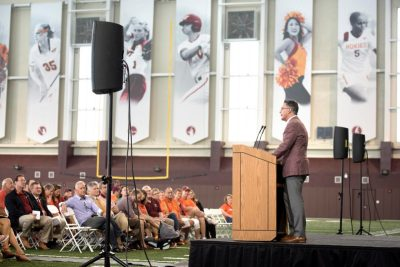 Photograph of Virginia Tech President Timothy D. Sands at the dedication of the Indoor Practice Facility