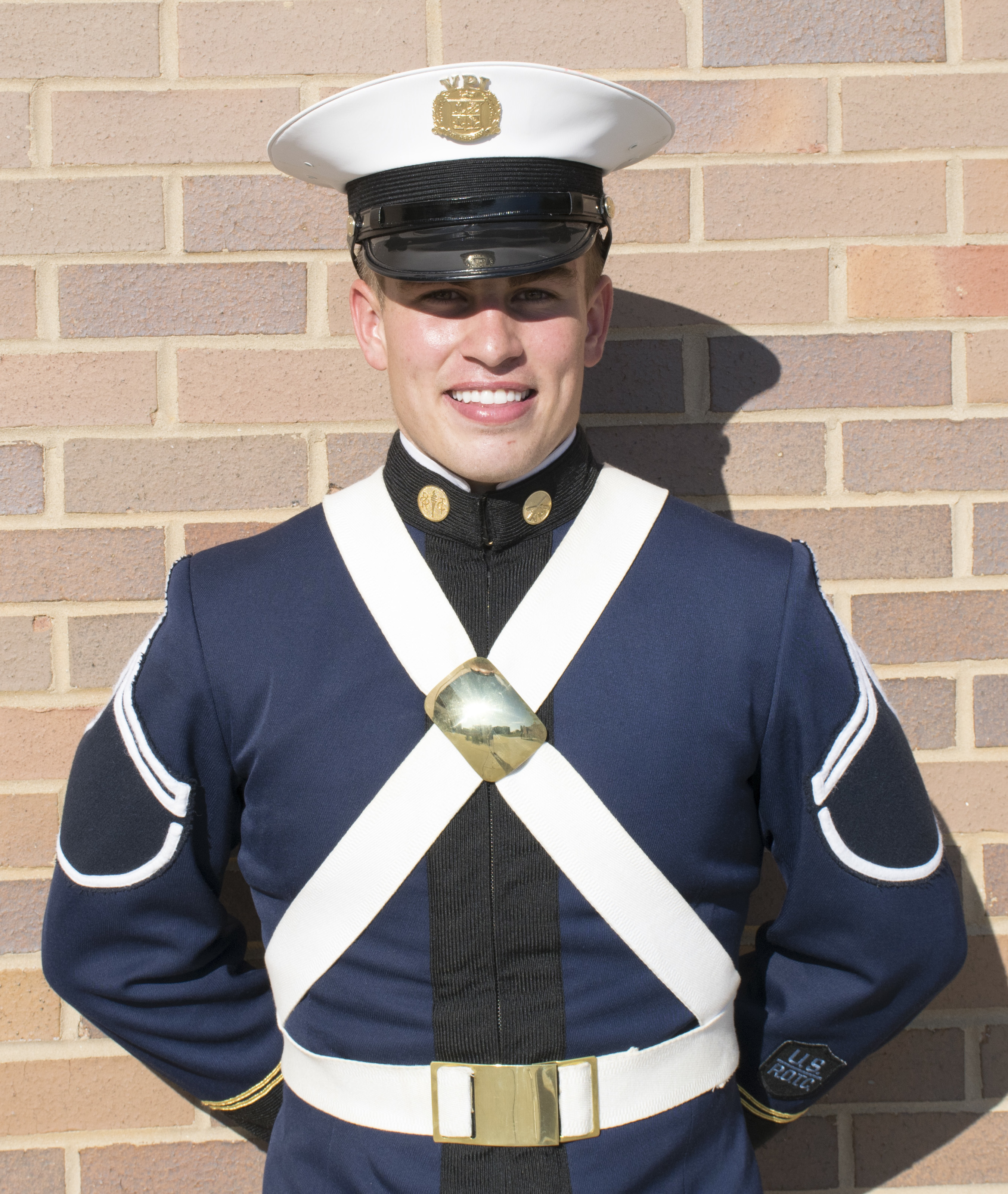 Cadet Jake Voorhees outside Lane Hall