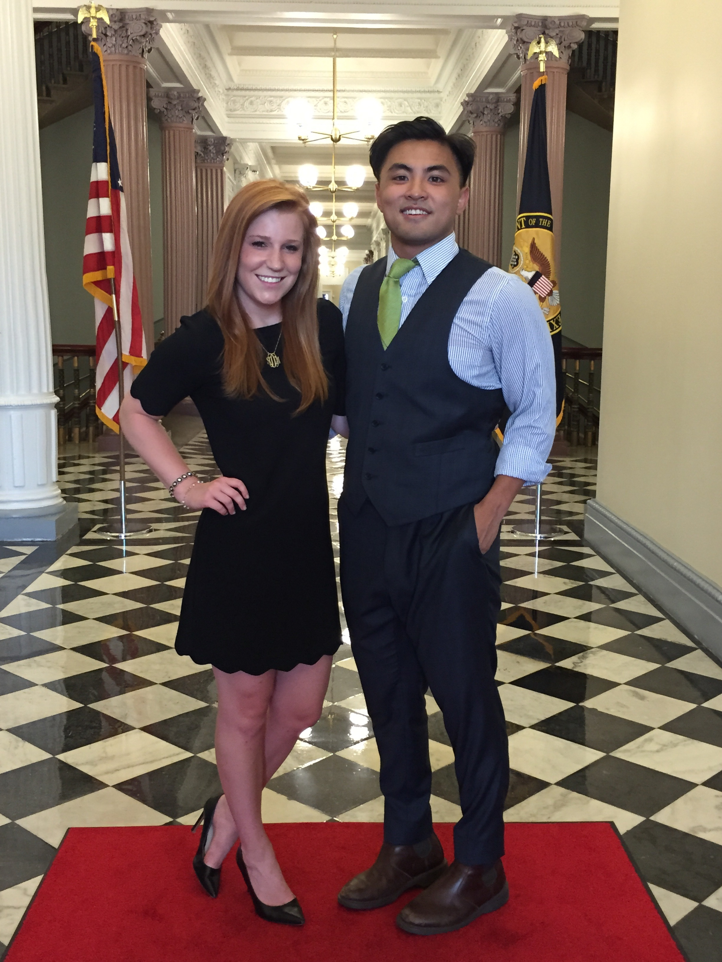 Seniors Alena Deveau and Max Luong in the White House for their summer internship