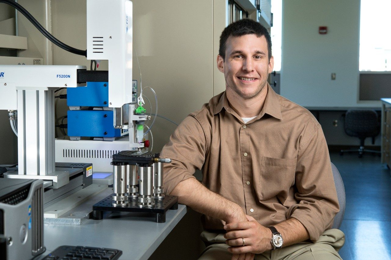 Blake Johnson, an assistant professor with the Virginia Tech Grado Department of Industrial and Systems Engineering, is part of a team to develop 3-D printed scaffolds that could one day help regenerate damaged, missing peripheral nerve pathways.