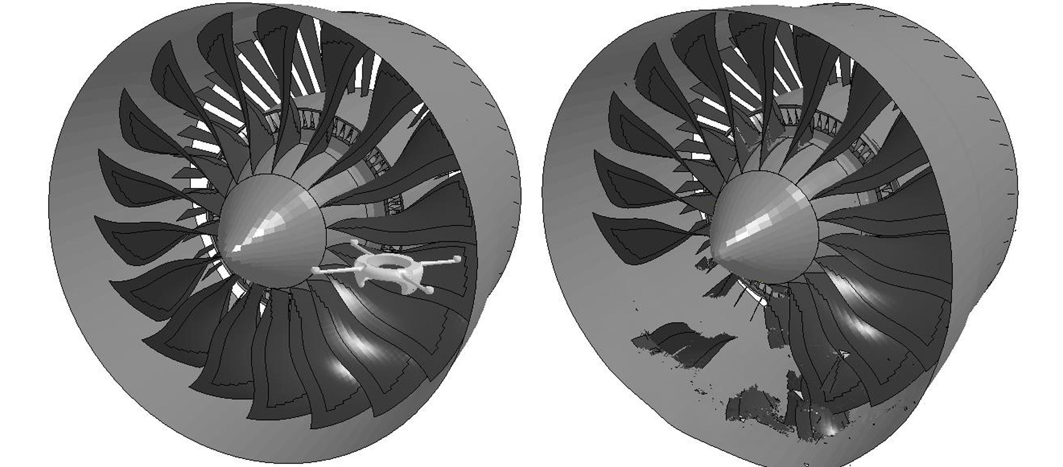 CAD image of jet engine struck by done