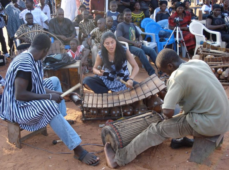 Percussionist Valerie Naranjo plays the West African gyil i