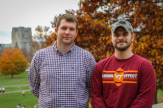 Student veterans Trey VanHout, at left, and Matthew Dyke now call Virginia Tech home.