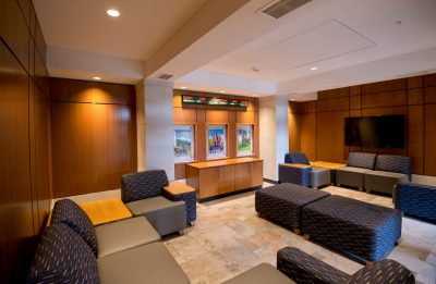 Photo of the main lounge of Pearson Hall at Virginia Tech