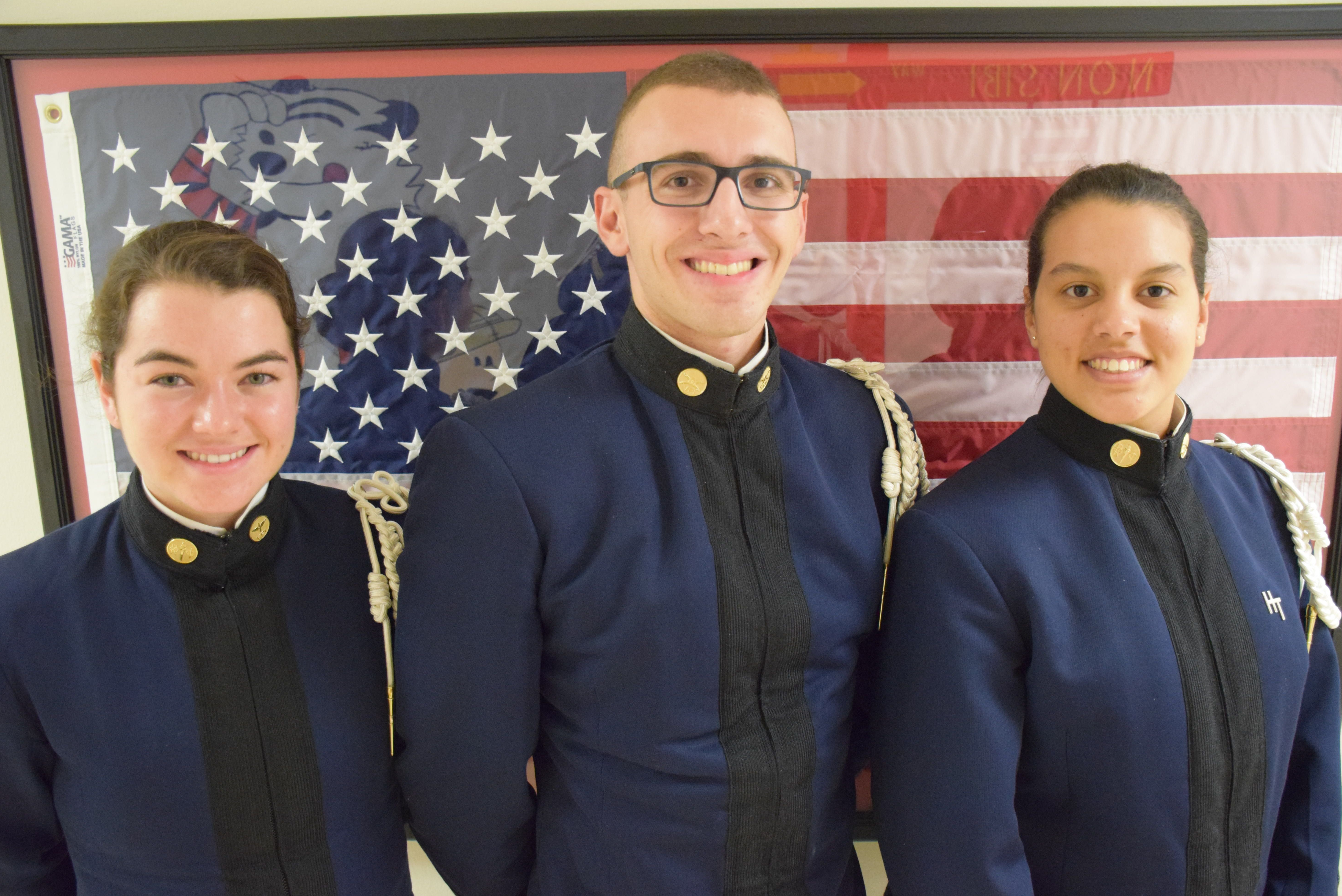 From left to right are Cadets Colleen Pramenko, Daniel Rhoades, and Samantha Velazquez-Martinez.