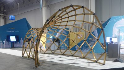 This completed structure from the Virginia Tech Center for Design Research was on display in the Autodesk University Exhibition Hall in Las Vegas.