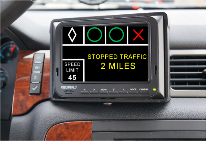 In-vehicle display unit that provides drivers with information on speed limit, high occupancy vehicle lanes, lane availability, and upcoming traffic