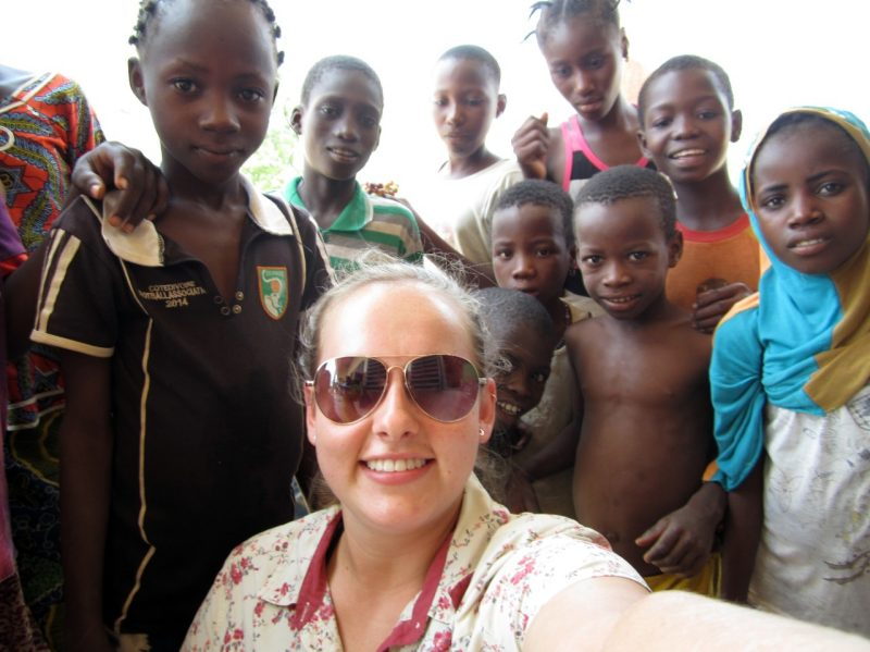 Paige Williams with a group of African children.