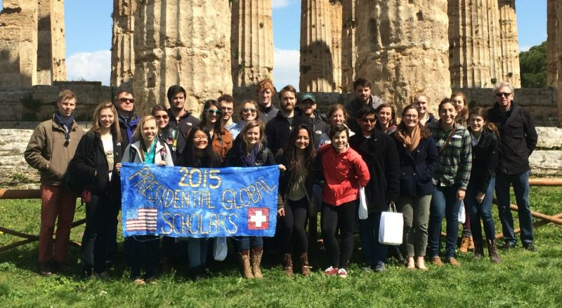 Paul Knox with the 2015 Presidential Global Scholar students at Paestrum, a Greek temple near Naples, Italy