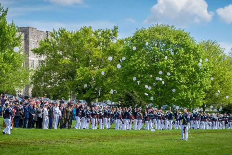 Members of the Class of 2015 celebrate at the conclusion of the Change of Command parade on the Drillfield last spring.
