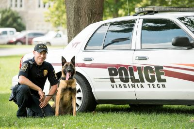 Virginia Tech Police Officer Austin Sumners is Nero's handler. Nero is a Belgian Malinois and a bomb detection dog