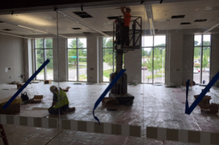 Here's a look into one of the classroom spaces, viewed through a glass corridor wall.