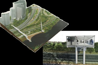 Pop-up commercial bridge over the parkway design