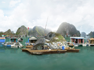 "Dionisio González, ""New Halong I"" (2013).  C-print, diasec, mounted on Dibond and aluminum, 59 x 118 inches. Edition 3/7 + 2A. Courtesy of the artist and Galerie Richard, New York/Paris."