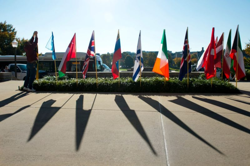 Flags in front of Burruss Hall