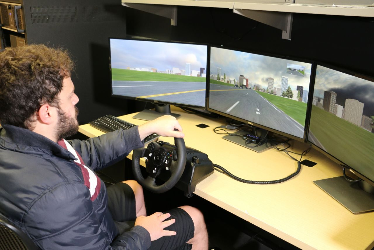A Smart Car is the primary simulator in the Autonomous Systems and Intelligent Machines Laboratory in the Department of Mechanical Engineering, but the system also includes a second simulator at a desktop station.