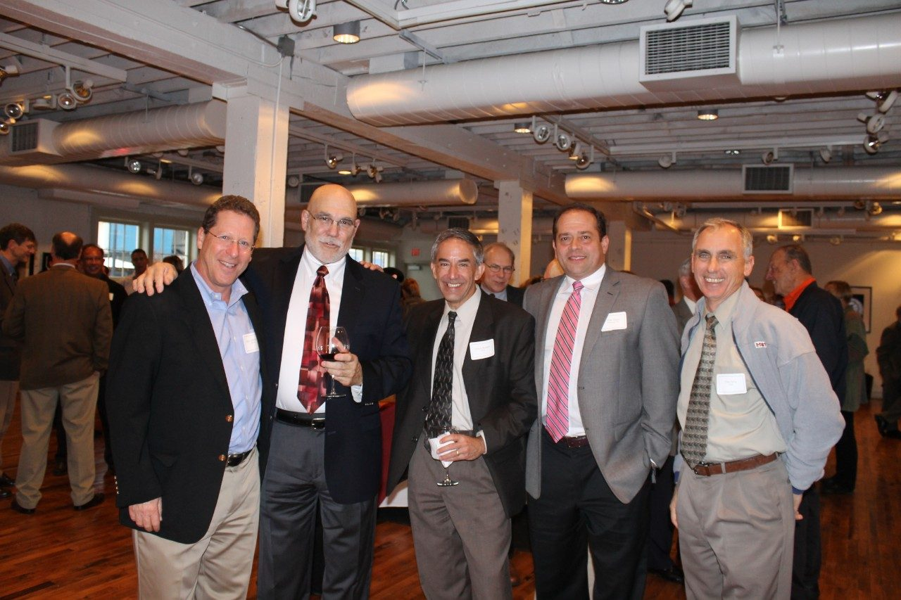 Left to right: Steve Silberstein, Tom Grizzard, Chuck Boepple, Mike Moon, and Tom Faha at Grizzard's retirement party in 2014.
