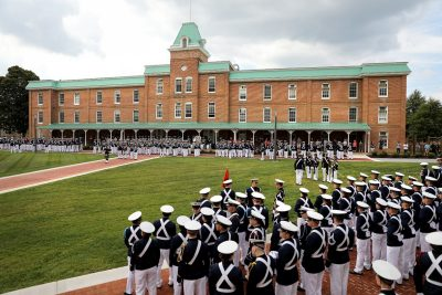 The regiment gathers on Upper Quad for the dedication ceremony and a formal retreat.