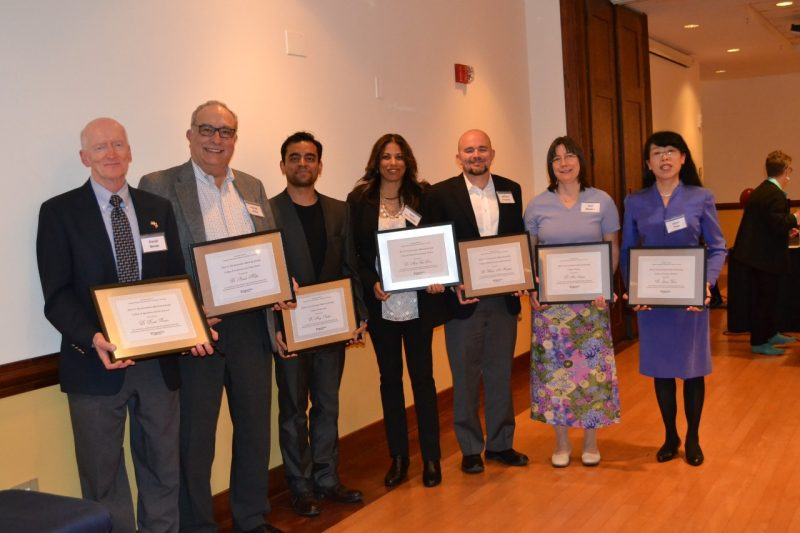 photo of the 2017 Graduate School Outstanding Faculty Mentor award winners with their plaques