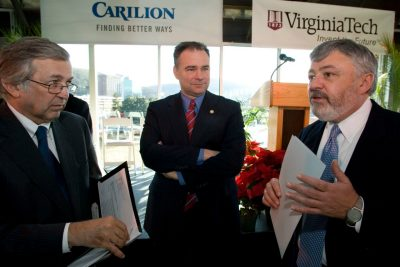 The announcement in 2007 that Virginia Tech and Carilion would partner to create a medical school and research institute. Left to right: Virginia Tech President Charles Steger, Virginia Governor Tim Kaine, and Carilion CEO Ed Murphy.