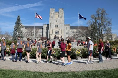 Participants pass the April 16 Memorial during the 2018 Run in Remembrance.