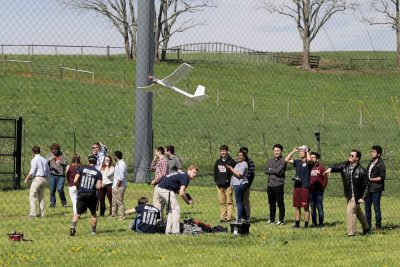 Student flight demonstrations were the highlight of the park's grand opening. Students from an engineering design course, the Virginia Tech drone racing team, and a group with a paired ground and aerial vehicle all showed off their skills at the event.