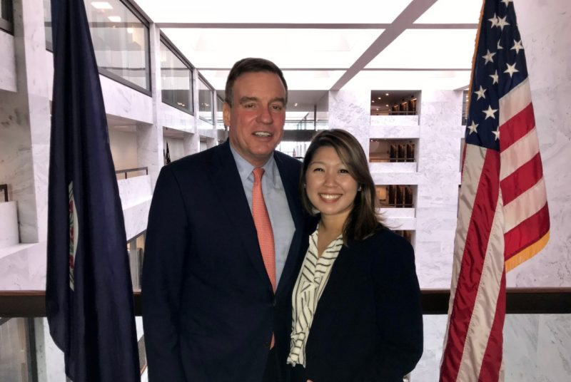 Saherah Khan (right) poses with Senator Mark Warner at the Hart Senate Office Building..
