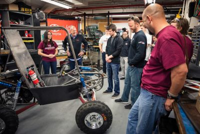 Mechanical engineering senior Genevieve Gural talks about the Baja SAE Team with David Wilson, president of Toyota Racing and mechanical engineering alumnus.
