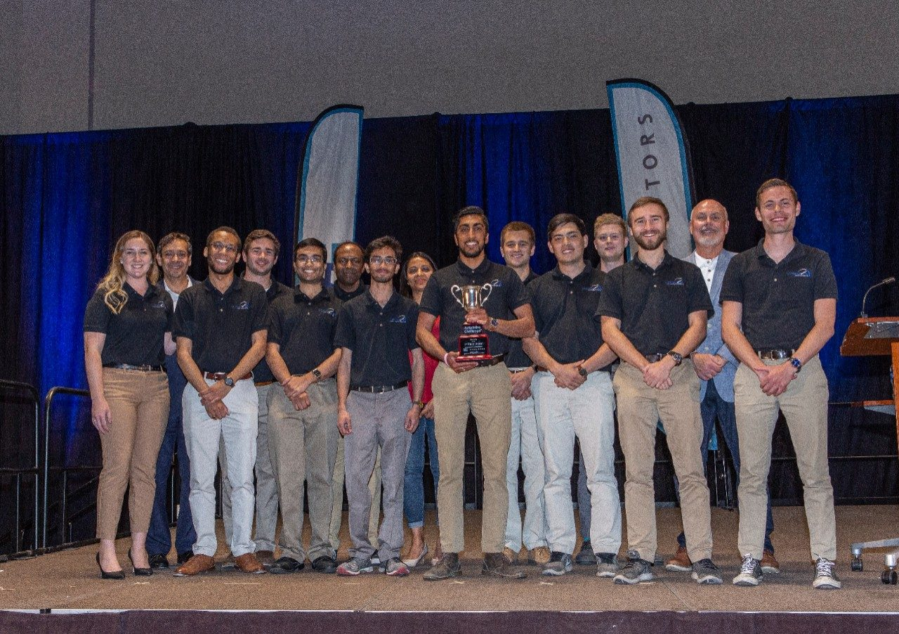 Victor Tango AutoDrive Team with their third-place trophy. Photo courtesy of SAE International.