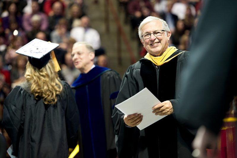 President Steger at a commencement ceremony