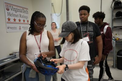 Rising seniors participating in the Black College Institute viewed groundbreaking helmet research.