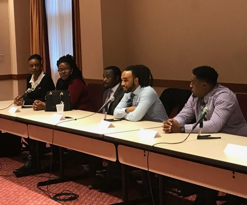 Trichia Cadette, Angelina Hargrove, Matt Ferby, Taylor McFadden, and Courtney Lawrence, all HBCU alumni who now are Virginia Tech Graduate Students answer questions from visiting undergraduate students at the HBCU/MSI Research Summit, October 2018