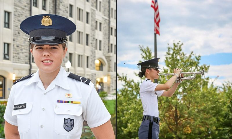 From left are Cadets Alicja Karaszewska and Deanna Marie Meyer