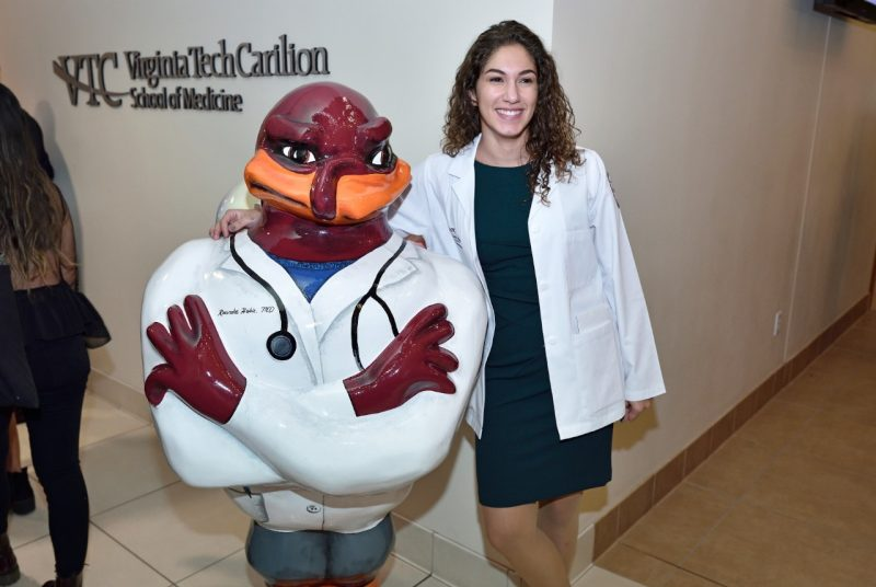 Michaela Pesce poses with Roanoke Hokie, MD