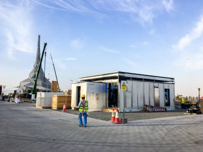 The FutureHAUS' construction has begun at the competition site in Dubai. (Photo by Laurie Booth)