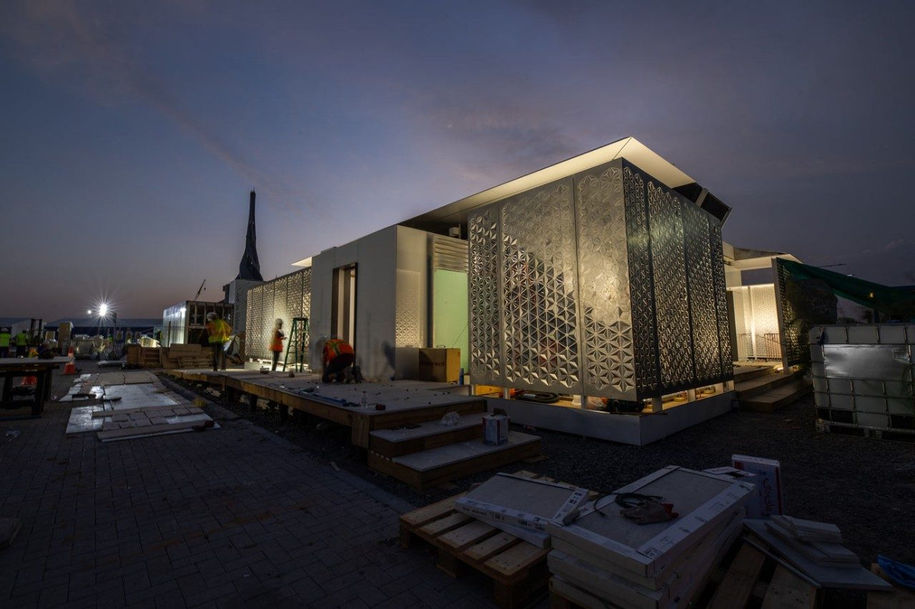 FutureHAUS at night during construction.