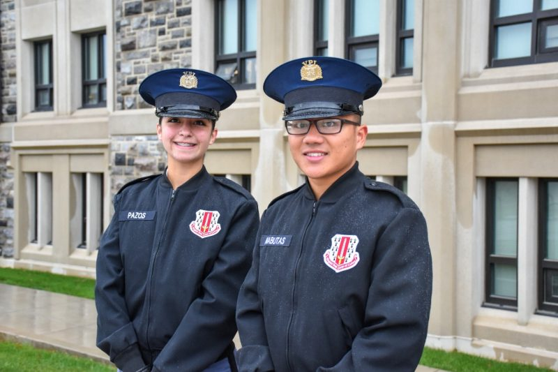 From left are cadets Viviana Pazos and Matthew Mabutas.