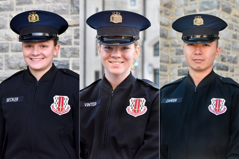 From left are Cadets Nicole Becker, Caroline Vinter, and Ali Zaheer