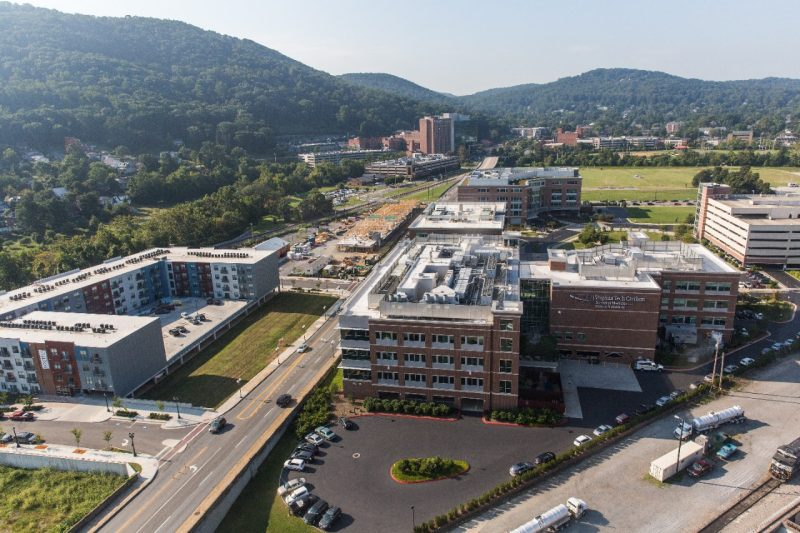 Aerial shot of Virginia Tech Carilion Innovation District