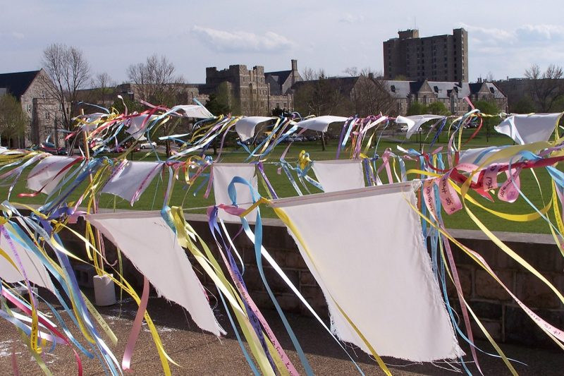 Prayer flags on display