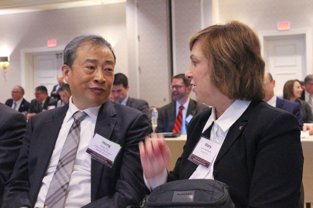 Professor Mary Marchant speaks to Zhu Hong, minister for economic and commercial affairs at the Chinese embassy in Washington, D.C.