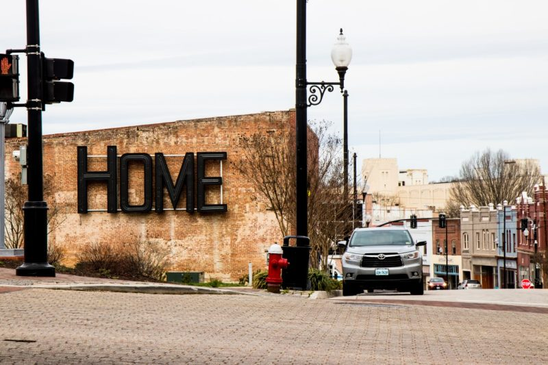 "The words ""HOME"" on a building resurrected from a historic sign"