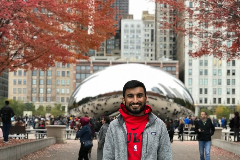 Faizan Hasnany poses in Chicago's Millennium Park.