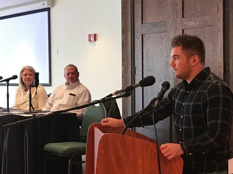 Alek Skarlatos, who helped disarm a terrorist on a train from Amsterdam to Paris, speaks at Lehi Dowell's Diversity Scholars event. Renee Cloyd and Anthony Wilson also were speakers at the event.