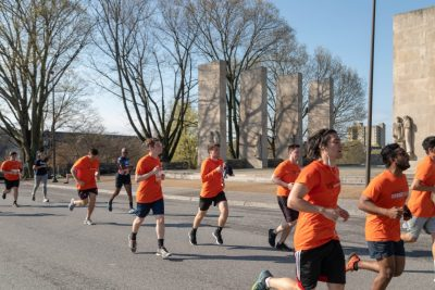 Runners pass the Pylons during the 3.2 Mile Run In Remembrance
