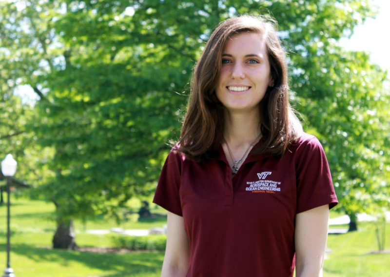 Aerospace engineering major Julie Duetsch has been named the Outstanding Senior for the Kevin T. Crofton Department of Aerospace and Ocean Engineering.