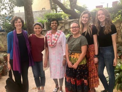 Bonnie Zare and students with Anusha Bharadwaj, director of Voice 4 Girls Center in India.