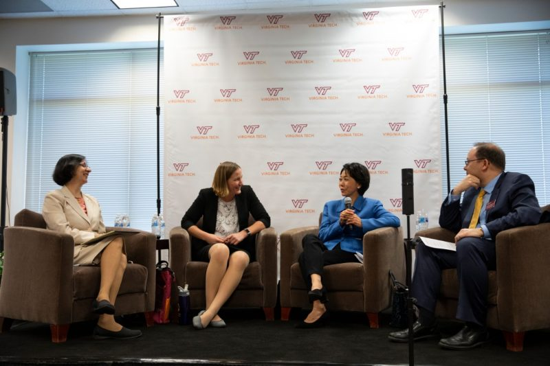 Graduate School Associate Dean Kenneth Wong, right, moderates a panel discussing entrepreneurship and graduate education. Panelists: Afroze Mohammed, Laura Freeman, and Betty Chao.